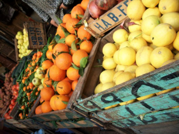Fresh lemons, oranges, tangerines, tomatoes, zucchini's, potatoes, apples, onions, and clementines at an open-air market in Morocco. Photo by M. Ruth Dike.