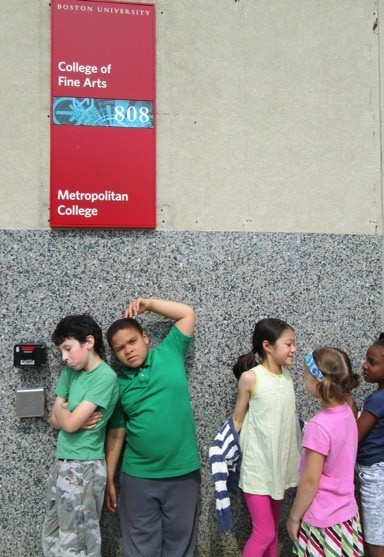 My enthusiastic son (far left) and classmates waiting to enter the Fuller Building.
