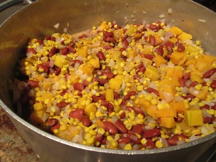 Succotash made by Chef Dwayne highlights the three sisters: corn, beans, and squash.