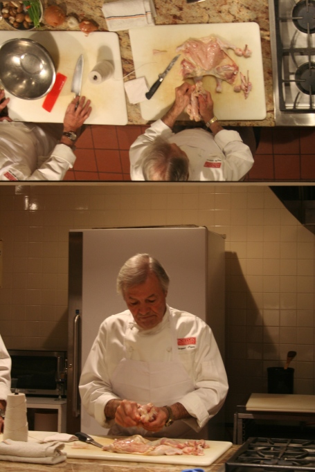 Jacques Pepin instructs students how to