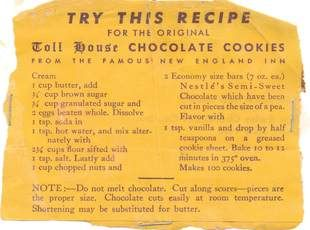 original toll house cookie