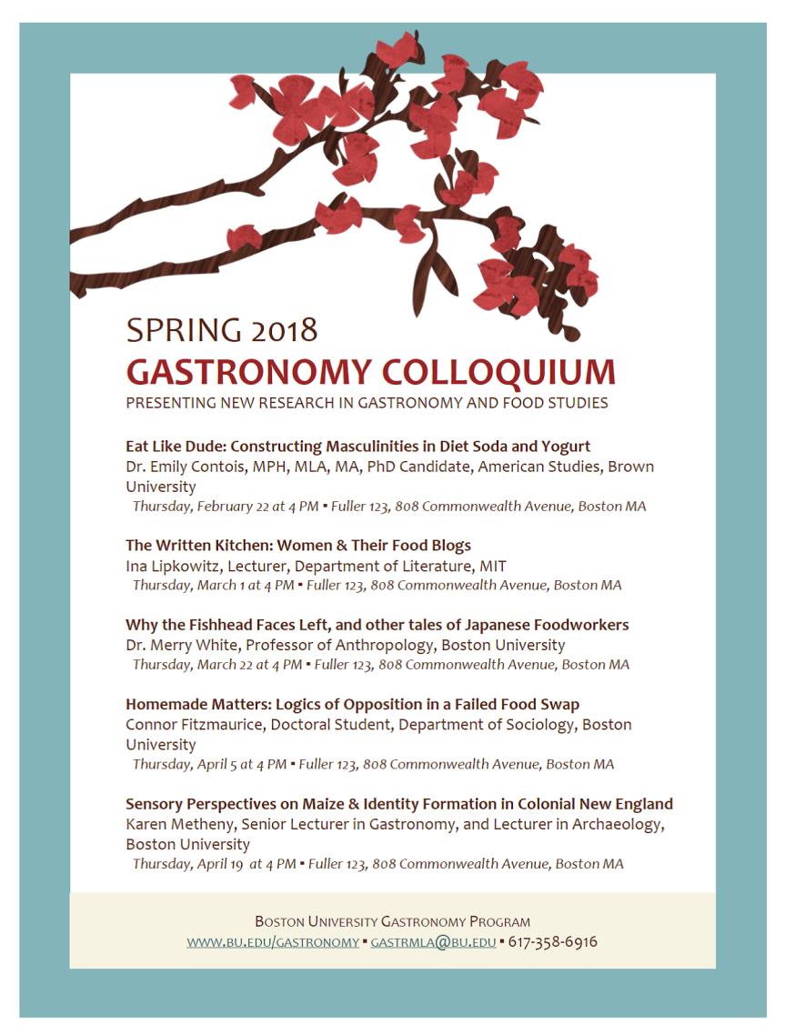 Spring 2018 Gastronomy Colloquium